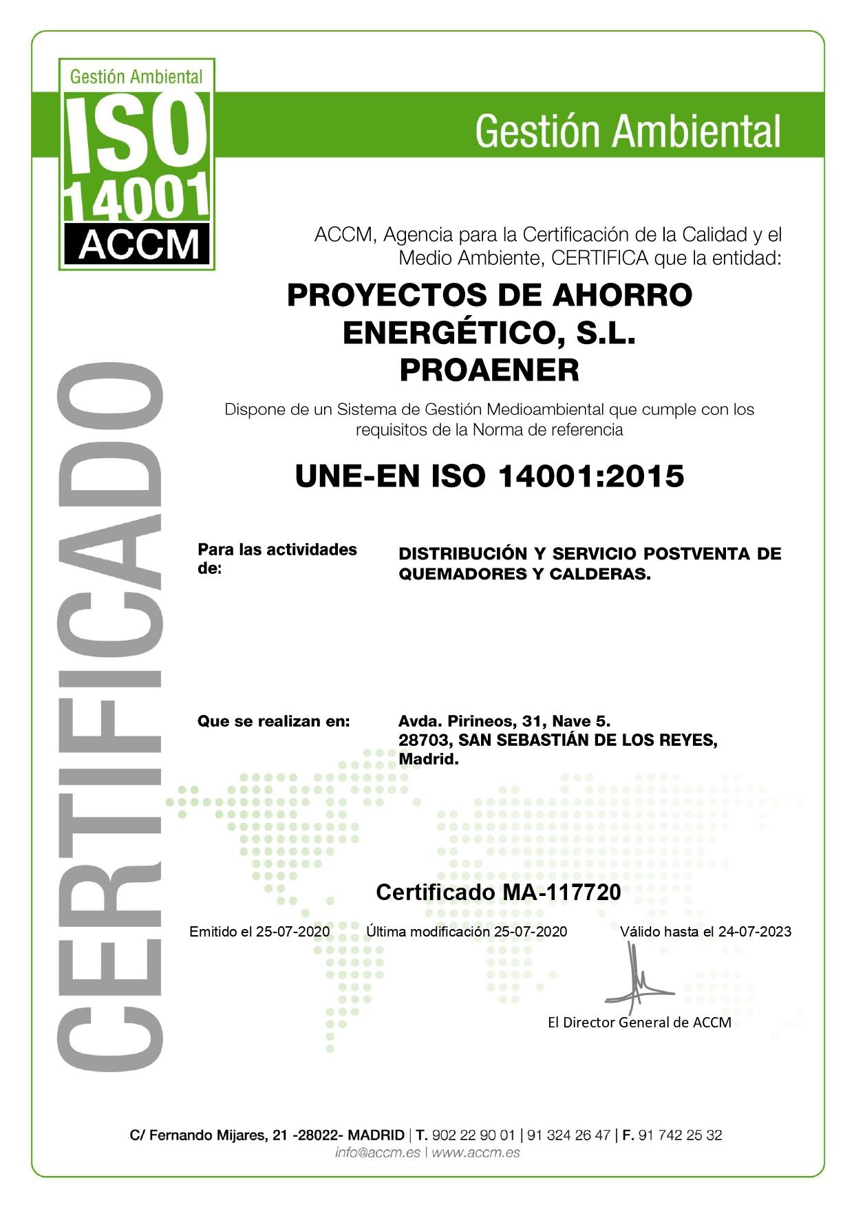 Proaener ISO 14001 - MA-117720