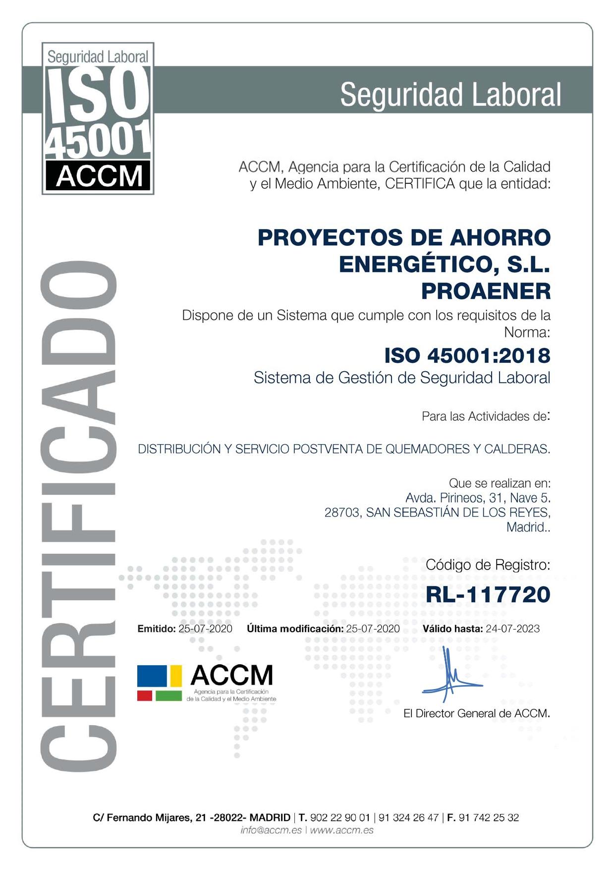 Proaener ISO 45001 - RL-117720