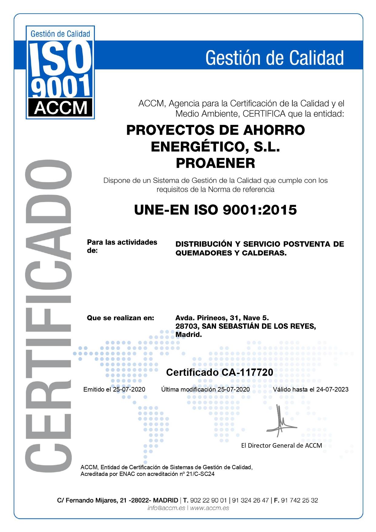 Proaener ISO 9001 - CA-117720